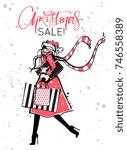 woman in santa's hat walking... | Shutterstock .eps vector #746558389