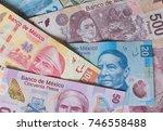 different mexican money bills...   Shutterstock . vector #746558488