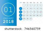 january 2018 calendar. calendar ... | Shutterstock .eps vector #746560759
