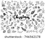 christmas set of chic design... | Shutterstock .eps vector #746562178