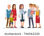 doctor woman with big family.... | Shutterstock .eps vector #746562220
