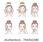 girl cares about her face.... | Shutterstock .eps vector #746562280