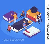 online education concept. flat... | Shutterstock .eps vector #746562313
