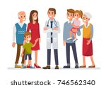 doctor man with big family.... | Shutterstock .eps vector #746562340