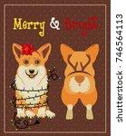 corgi  in deer antler christmas ... | Shutterstock .eps vector #746564113