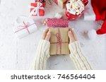 child  holding a handmade gift. ...   Shutterstock . vector #746564404