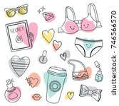 cute doodle set of girls stuff. ... | Shutterstock .eps vector #746566570