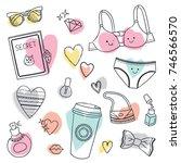 cute doodle set of girls stuff. ... | Shutterstock .eps vector #746566570