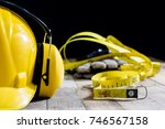 helmet  hearing protection ... | Shutterstock . vector #746567158