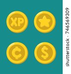 a set of icons of gold coins... | Shutterstock .eps vector #746569309