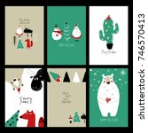 set of christmas greeting cards.... | Shutterstock .eps vector #746570413
