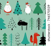 funny christmas seamless... | Shutterstock .eps vector #746570539