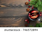 christmas mulled wine with... | Shutterstock . vector #746572894