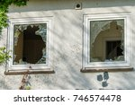 broken window in the house | Shutterstock . vector #746574478