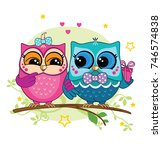 a couple of owls on a branch in ... | Shutterstock .eps vector #746574838