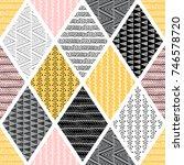 seamless pattern  patchwork... | Shutterstock .eps vector #746578720