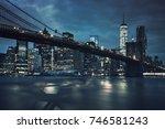 view of brooklyn bridge by... | Shutterstock . vector #746581243
