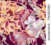 peony vector seamless pattern | Shutterstock .eps vector #746582080