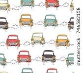 retro cars seamless pattern.... | Shutterstock .eps vector #746582158