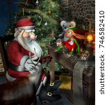santa claus and reindeer... | Shutterstock . vector #746582410