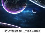 Small photo of Science fiction wallpaper. Planetary system thousands light years far away from Earth. Elements of this image furnished by NASA