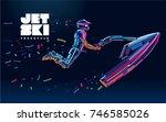 jet ski. vector in the style of ... | Shutterstock .eps vector #746585026