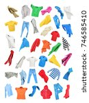 colored clothes in the fall... | Shutterstock . vector #746585410