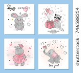 greeting birthday cards set... | Shutterstock .eps vector #746588254