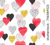 golden and red hearts pattern....