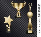 golden trophy cups for... | Shutterstock . vector #746590738