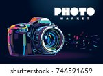 photo camera. banner in a... | Shutterstock .eps vector #746591659