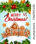 christmas cookie and new year... | Shutterstock .eps vector #746592130