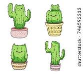 Set Of Cute Cartoon Cat Cactus...