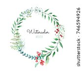 romantic cute wreath of leaves. ... | Shutterstock . vector #746594926