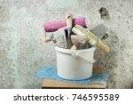 plastic bucket and set of... | Shutterstock . vector #746595589