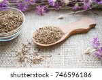 dried valerian roots in wooden... | Shutterstock . vector #746596186