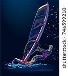 water sports. windsurfing.... | Shutterstock .eps vector #746599210