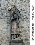 Small photo of Medieval Statue of Roland in Halle Saale, Germany, symbol of justice.