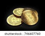 stack of four golden bitcoins... | Shutterstock . vector #746607760