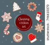 christmas cookies vector... | Shutterstock .eps vector #746610370