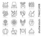 thanksgiving day black thin... | Shutterstock .eps vector #746611408