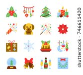 christmas and new year colorful ... | Shutterstock .eps vector #746611420