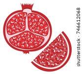 whole pomegranate design juicy... | Shutterstock .eps vector #746612068
