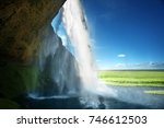 seljalandfoss waterfall in... | Shutterstock . vector #746612503