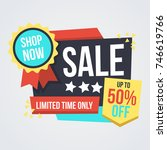 unique super sale banner with... | Shutterstock .eps vector #746619766