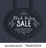 black metal signboard for... | Shutterstock .eps vector #746620534
