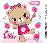 Stock vector cartoon cute bear girl with strawberry cupcake on polka dot background illustration vector 746627419
