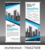 blue roll up banner template.... | Shutterstock .eps vector #746627608