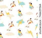 skateboarder girl seamless... | Shutterstock .eps vector #746629564