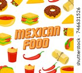 mexican food on a white... | Shutterstock .eps vector #746631526
